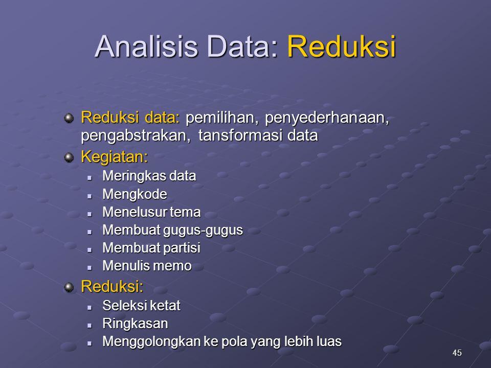 45 Analisis Data: Reduksi Reduksi data: pemilihan, penyederhanaan, pengabstrakan, tansformasi data Kegiatan: Meringkas data Meringkas data Mengkode Me