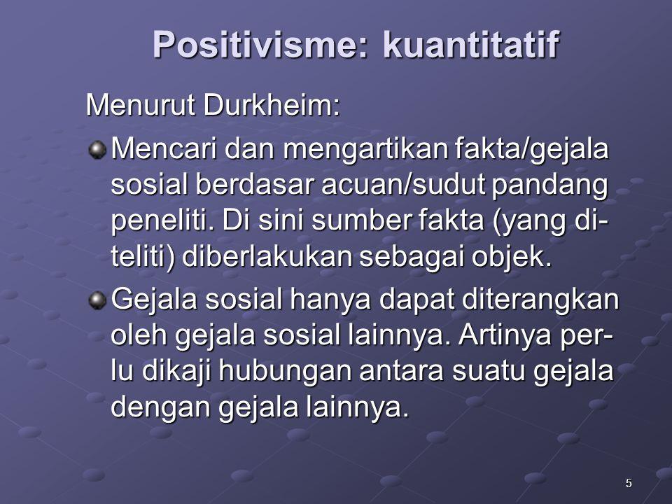 5 Positivisme: kuantitatif Menurut Durkheim: Mencari dan mengartikan fakta/gejala sosial berdasar acuan/sudut pandang peneliti. Di sini sumber fakta (