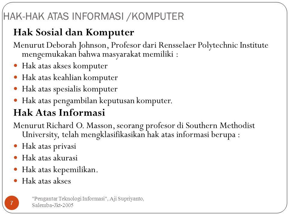 HAK-HAK ATAS INFORMASI /KOMPUTER