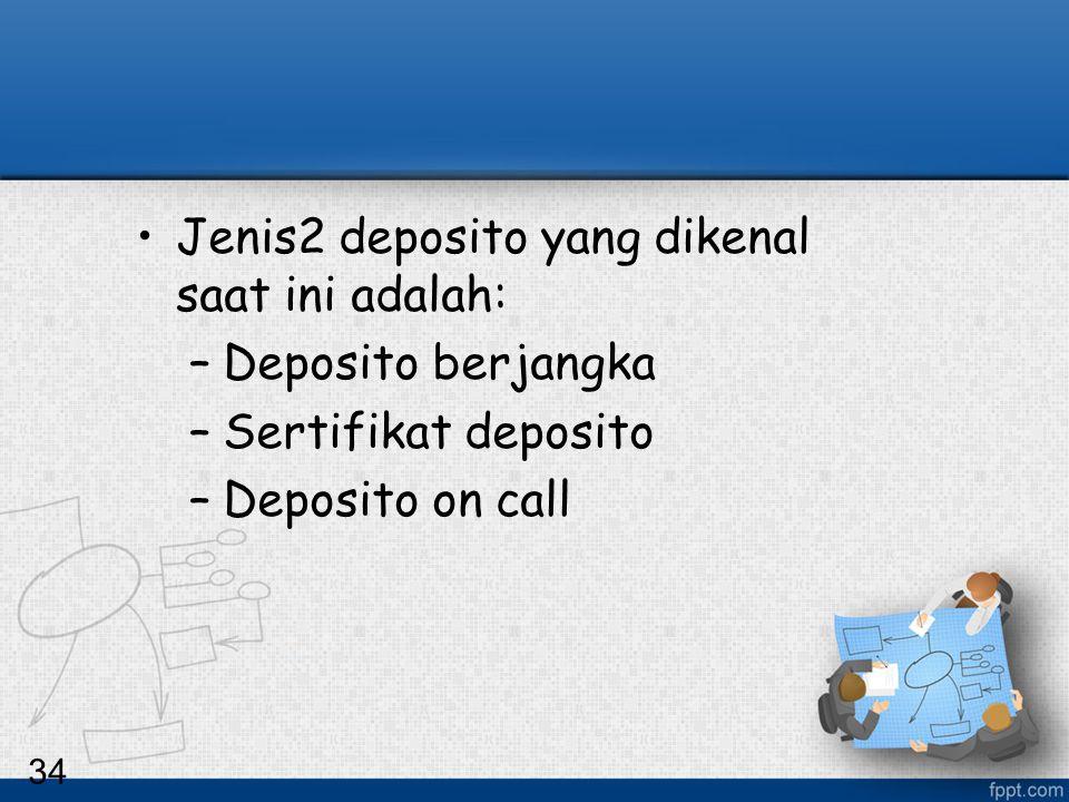 34 Jenis2 deposito yang dikenal saat ini adalah: –Deposito berjangka –Sertifikat deposito –Deposito on call