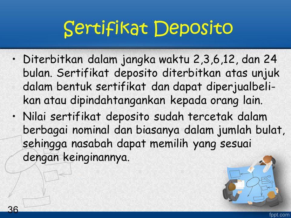 36 Sertifikat Deposito Diterbitkan dalam jangka waktu 2,3,6,12, dan 24 bulan. Sertifikat deposito diterbitkan atas unjuk dalam bentuk sertifikat dan d