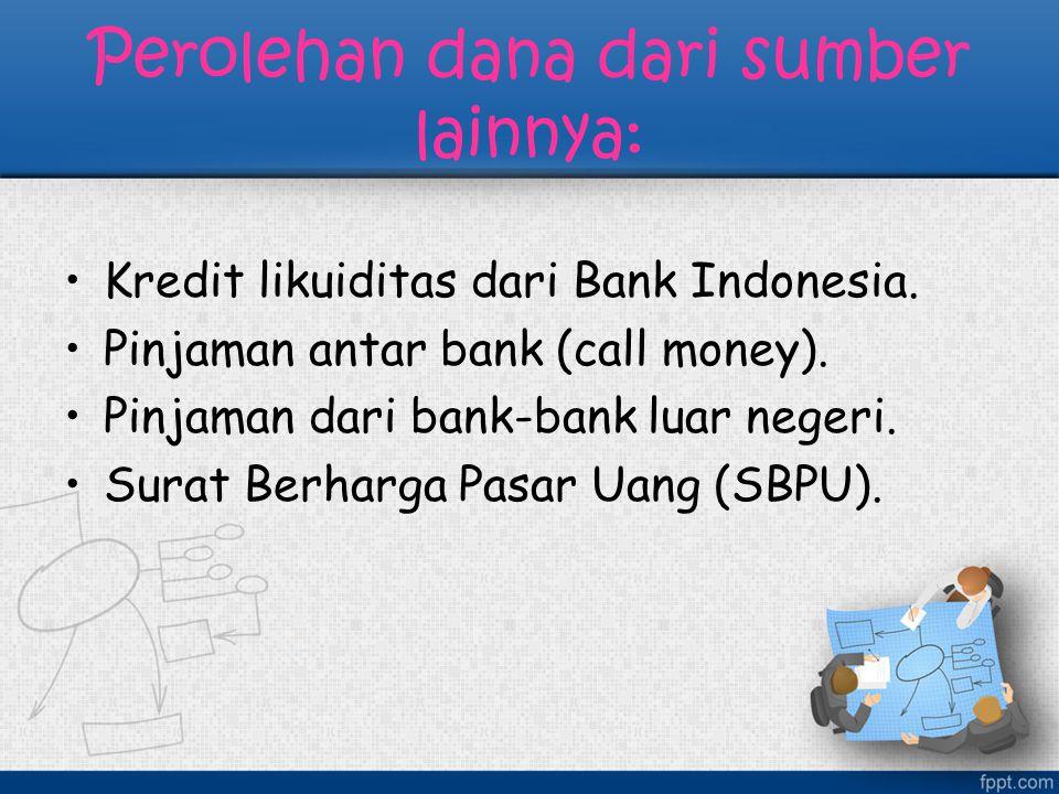 Perolehan dana dari sumber lainnya: Kredit likuiditas dari Bank Indonesia. Pinjaman antar bank (call money). Pinjaman dari bank-bank luar negeri. Sura