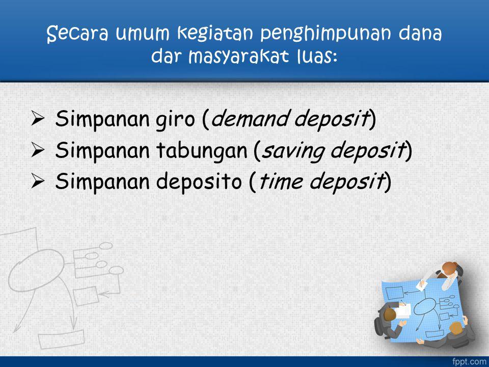 Secara umum kegiatan penghimpunan dana dar masyarakat luas:  Simpanan giro (demand deposit)  Simpanan tabungan (saving deposit)  Simpanan deposito