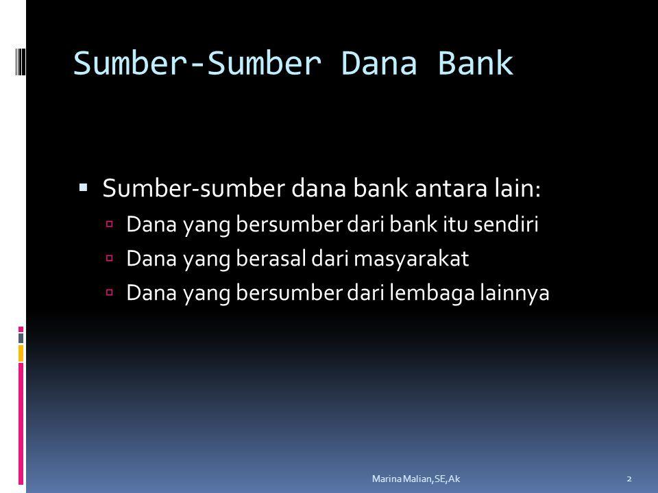 Sumber-Sumber Dana Bank  Sumber-sumber dana bank antara lain:  Dana yang bersumber dari bank itu sendiri  Dana yang berasal dari masyarakat  Dana yang bersumber dari lembaga lainnya 2 Marina Malian,SE,Ak