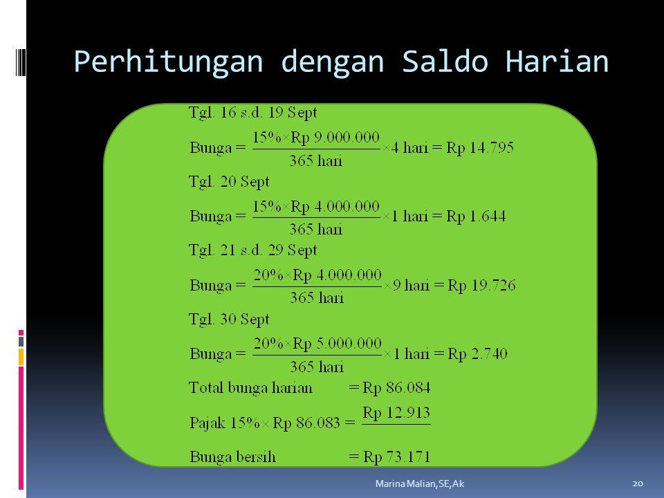Perhitungan dengan Saldo Harian Marina Malian,SE,Ak 20