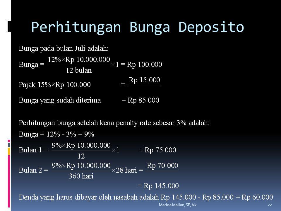 Perhitungan Bunga Deposito Marina Malian,SE,Ak 22