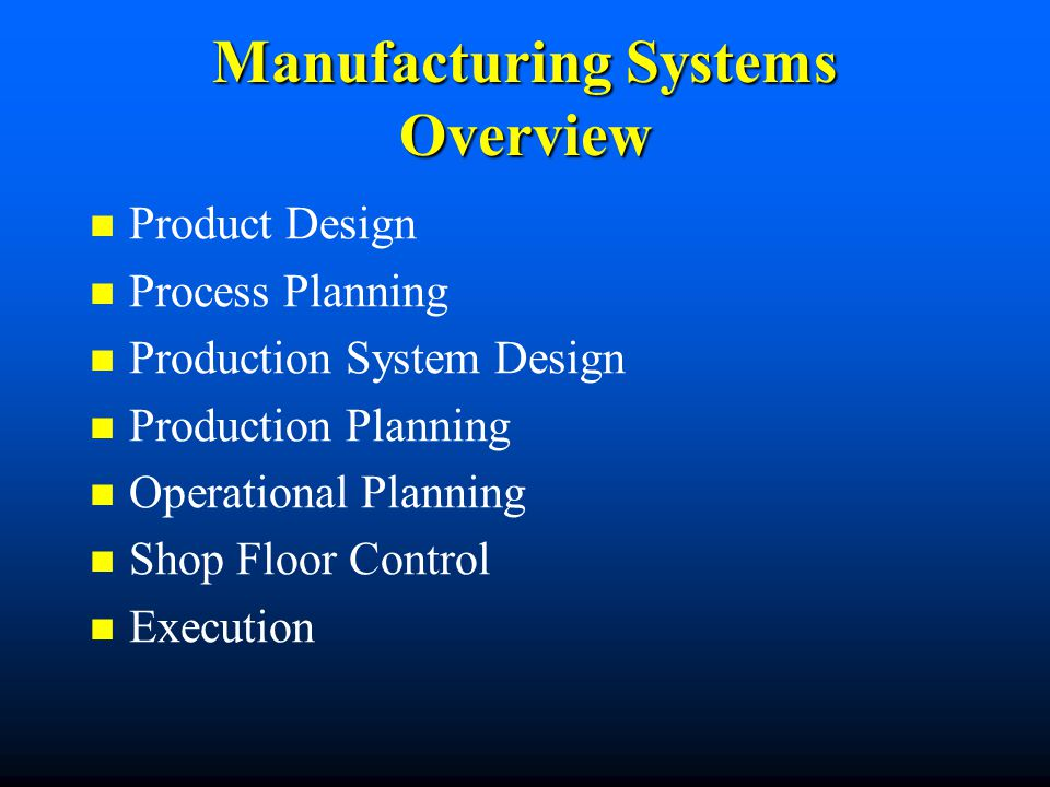 Manufacturing Systems Overview Product Design Process Planning Production System Design Production Planning Operational Planning Shop Floor Control Ex