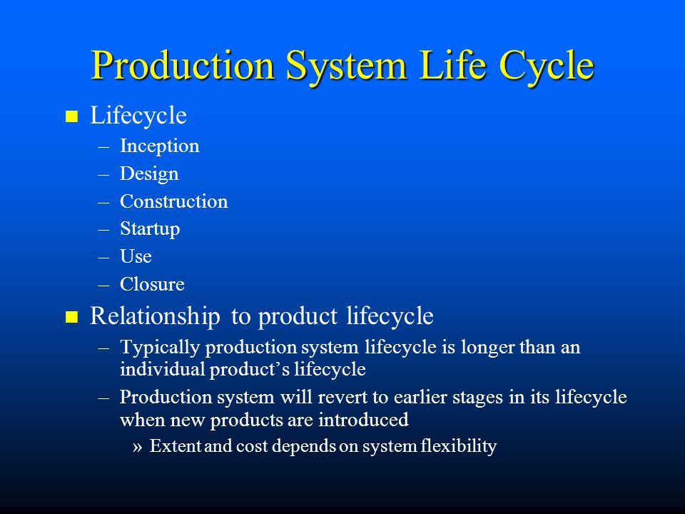 Production System Life Cycle Lifecycle – –Inception – –Design – –Construction – –Startup – –Use – –Closure Relationship to product lifecycle – –Typica
