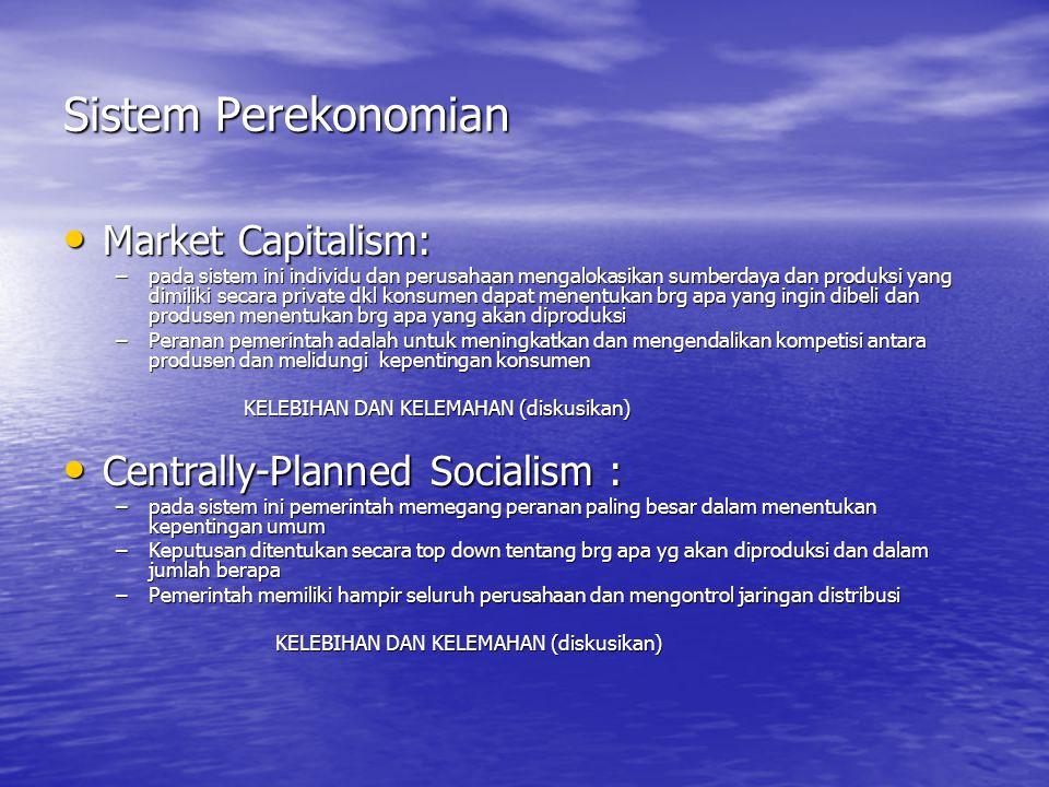 Sistem Perekonomian Market Capitalism: Market Capitalism: –pada sistem ini individu dan perusahaan mengalokasikan sumberdaya dan produksi yang dimilik