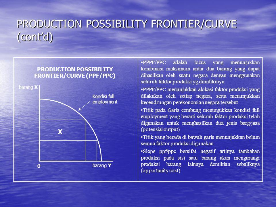 PRODUCTION POSSIBILITY FRONTIER/CURVE (cont'd) PPPF/PPC adalah locus yang menunjukkan kombinasi maksimum antar dua barang yang dapat dihasilkan oleh s