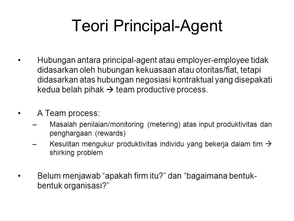 Teori Principal-Agent Hubungan antara principal-agent atau employer-employee tidak didasarkan oleh hubungan kekuasaan atau otoritas/fiat, tetapi didas
