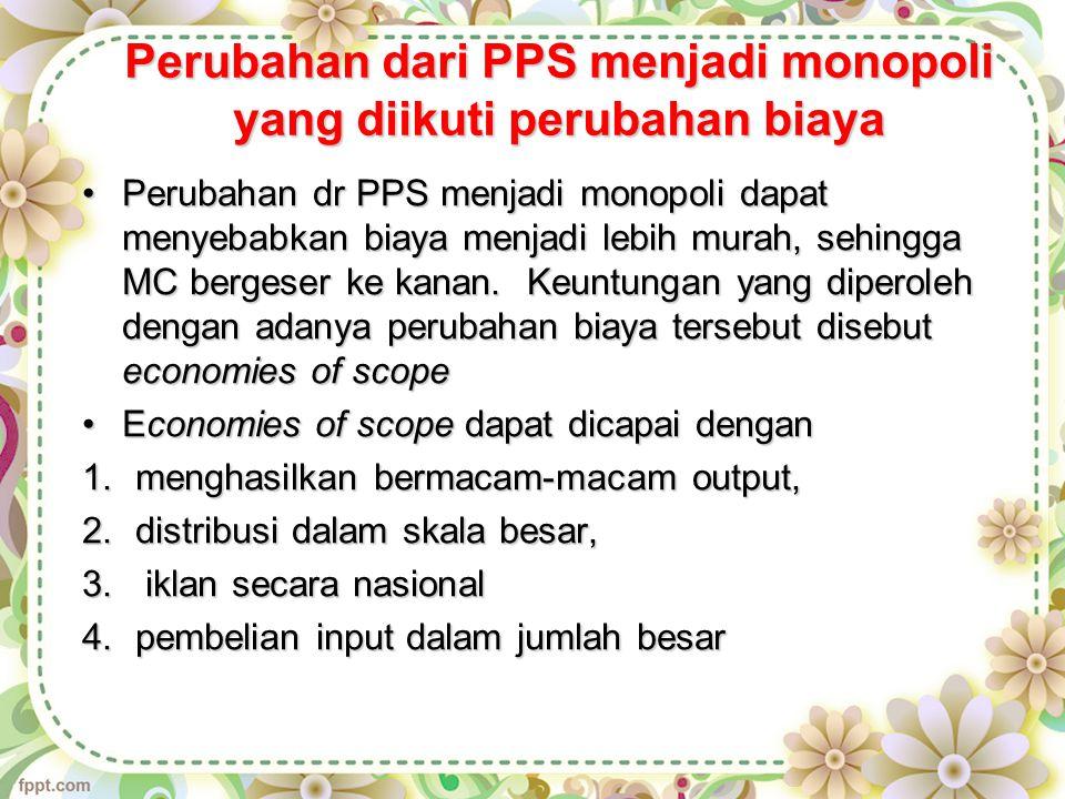 Perubahan dari PPS menjadi monopoli yang diikuti perubahan biaya Perubahan dr PPS menjadi monopoli dapat menyebabkan biaya menjadi lebih murah, sehingga MC bergeser ke kanan.