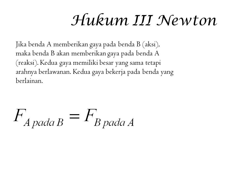 Hukum III Newton Jika benda A memberikan gaya pada benda B (aksi), maka benda B akan memberikan gaya pada benda A (reaksi). Kedua gaya memiliki besar