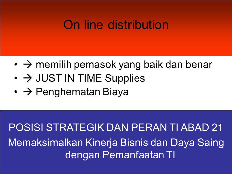 On line distribution  memilih pemasok yang baik dan benar  JUST IN TIME Supplies  Penghematan Biaya POSISI STRATEGIK DAN PERAN TI ABAD 21 Memaksimalkan Kinerja Bisnis dan Daya Saing dengan Pemanfaatan TI