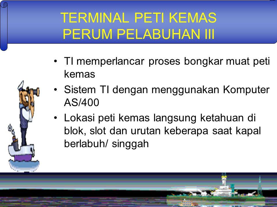 TERMINAL PETI KEMAS PERUM PELABUHAN III TI memperlancar proses bongkar muat peti kemas Sistem TI dengan menggunakan Komputer AS/400 Lokasi peti kemas langsung ketahuan di blok, slot dan urutan keberapa saat kapal berlabuh/ singgah