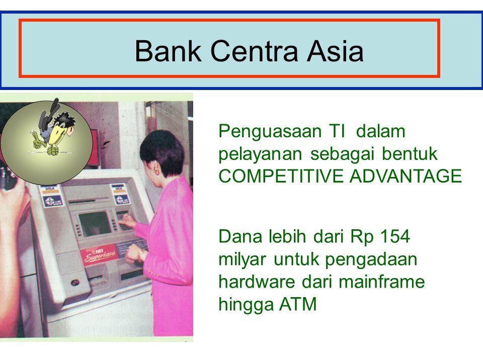 Bank Centra Asia Penguasaan TI dalam pelayanan sebagai bentuk COMPETITIVE ADVANTAGE Dana lebih dari Rp 154 milyar untuk pengadaan hardware dari mainframe hingga ATM