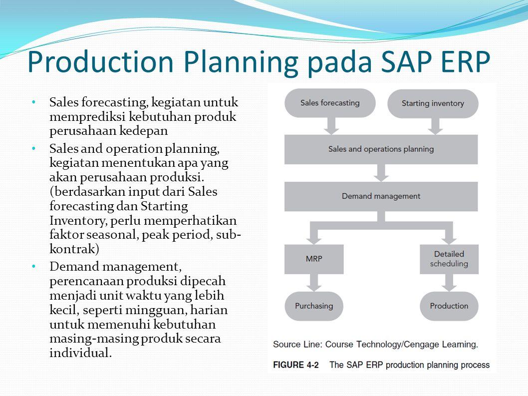 Production Planning (lanjutan...) Material Requirement Planning (MRP) menentukan jumlah dan waktu pesanan bahan baku.