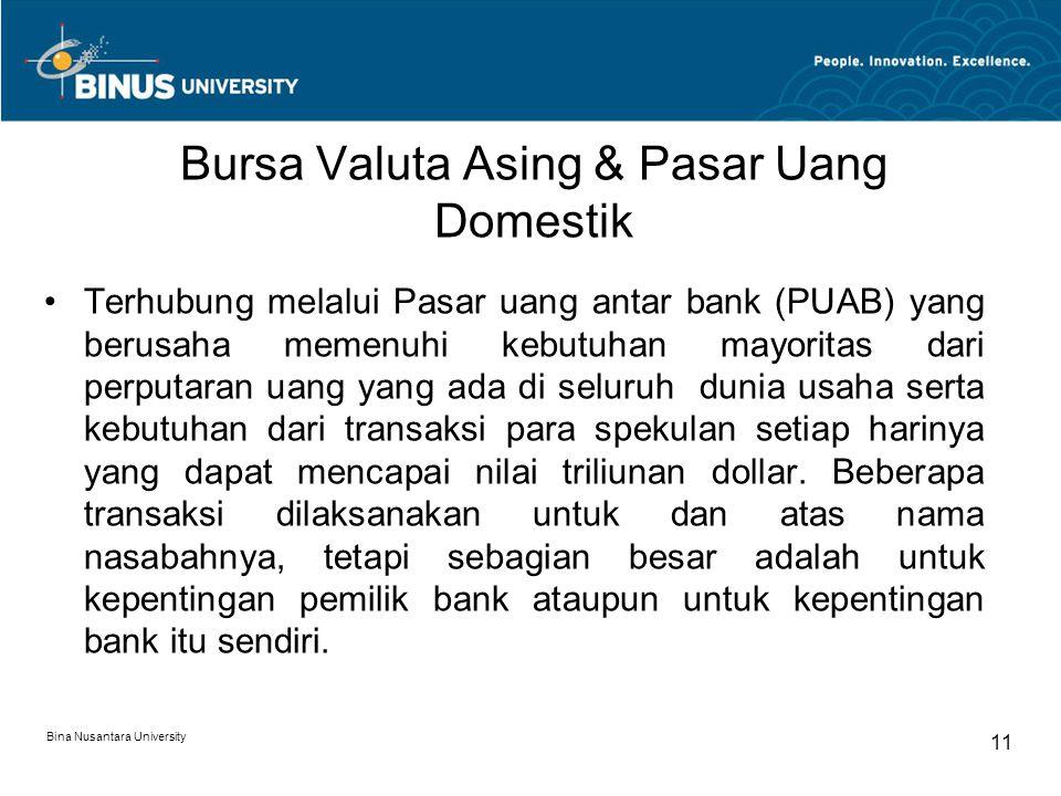 Bursa Valuta Asing & Pasar Uang Domestik Terhubung melalui Pasar uang antar bank (PUAB) yang berusaha memenuhi kebutuhan mayoritas dari perputaran uan