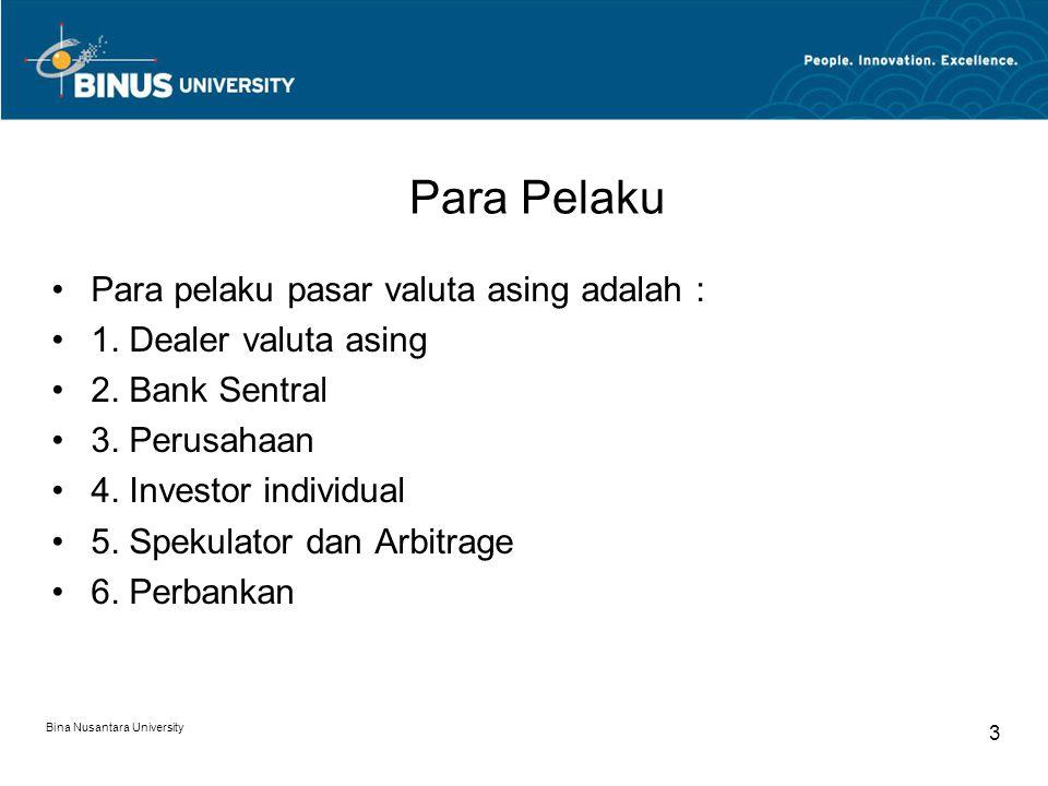 Para Pelaku Para pelaku pasar valuta asing adalah : 1. Dealer valuta asing 2. Bank Sentral 3. Perusahaan 4. Investor individual 5. Spekulator dan Arbi
