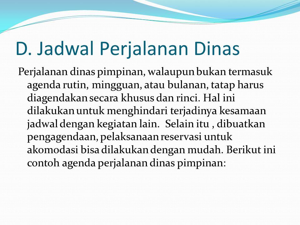 Jadwal Perjalanan Dinas General manager PT.