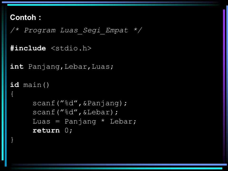"Contoh : /* Program Luas_Segi_Empat */ #include int Panjang,Lebar,Luas; id main() { scanf(""%d"",&Panjang); scanf(""%d"",&Lebar); Luas = Panjang * Lebar;"