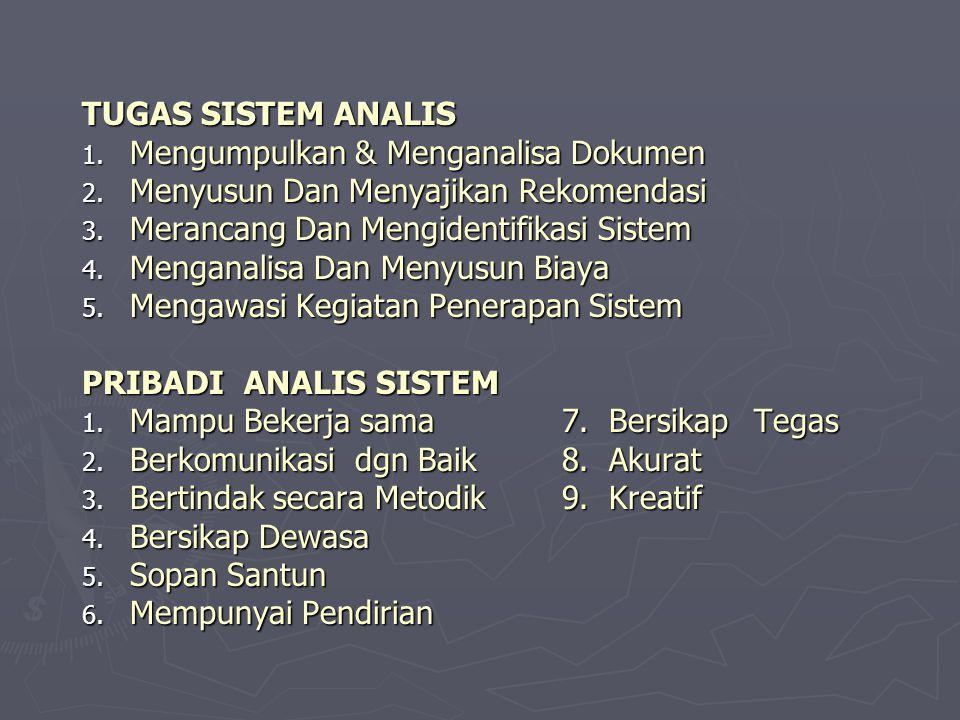TUGAS SISTEM ANALIS 1.M engumpulkan & Menganalisa Dokumen 2.