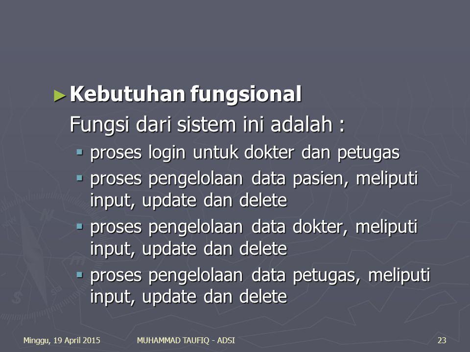 Minggu, 19 April 2015MUHAMMAD TAUFIQ - ADSI23 ► Kebutuhan fungsional Fungsi dari sistem ini adalah :  proses login untuk dokter dan petugas  proses pengelolaan data pasien, meliputi input, update dan delete  proses pengelolaan data dokter, meliputi input, update dan delete  proses pengelolaan data petugas, meliputi input, update dan delete
