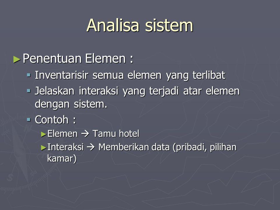 Analisa sistem ► Penentuan Elemen :  Inventarisir semua elemen yang terlibat  Jelaskan interaksi yang terjadi atar elemen dengan sistem.