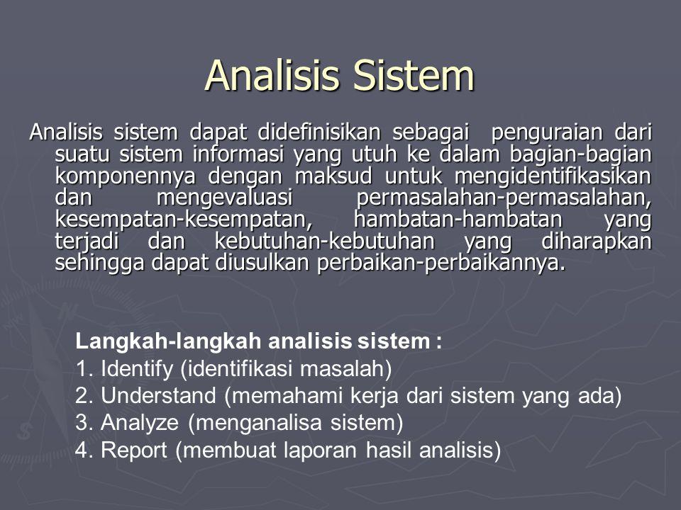 Analisis Sistem Analisis sistem dapat didefinisikan sebagai penguraian dari suatu sistem informasi yang utuh ke dalam bagian-bagian komponennya dengan maksud untuk mengidentifikasikan dan mengevaluasi permasalahan-permasalahan, kesempatan-kesempatan, hambatan-hambatan yang terjadi dan kebutuhan-kebutuhan yang diharapkan sehingga dapat diusulkan perbaikan-perbaikannya.
