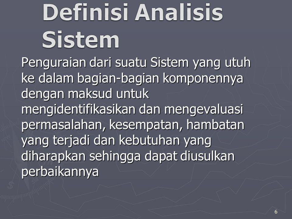 Penguraian dari suatu Sistem yang utuh ke dalam bagian-bagian komponennya dengan maksud untuk mengidentifikasikan dan mengevaluasi permasalahan, kesempatan, hambatan yang terjadi dan kebutuhan yang diharapkan sehingga dapat diusulkan perbaikannya 6