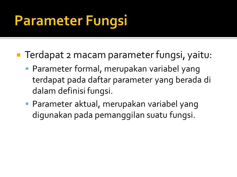  Terdapat 2 macam parameter fungsi, yaitu:  Parameter formal, merupakan variabel yang terdapat pada daftar parameter yang berada di dalam definisi f