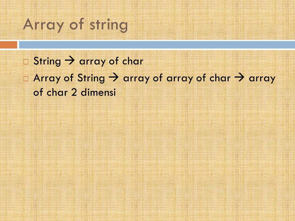 Array of string  String  array of char  Array of String  array of array of char  array of char 2 dimensi