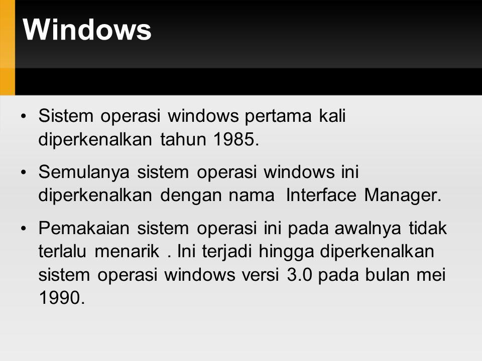 Windows Sistem operasi windows pertama kali diperkenalkan tahun 1985. Semulanya sistem operasi windows ini diperkenalkan dengan nama Interface Manager