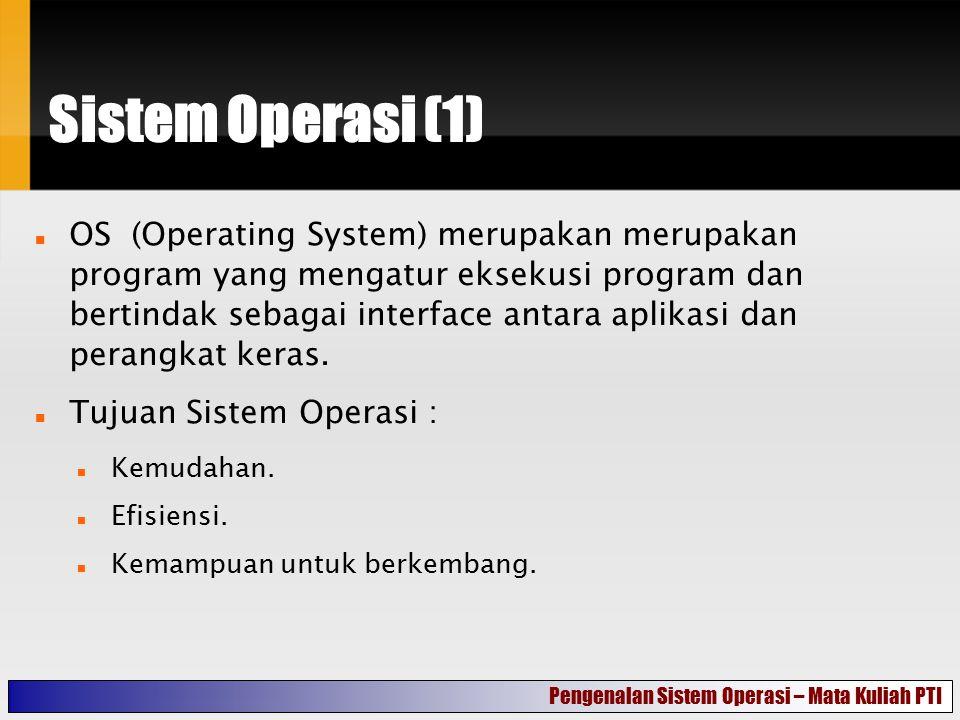 Sistem Operasi (1) OS (Operating System) merupakan merupakan program yang mengatur eksekusi program dan bertindak sebagai interface antara aplikasi da