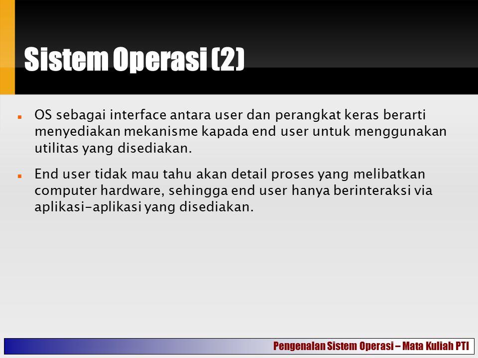 Sistem Operasi (2) OS sebagai interface antara user dan perangkat keras berarti menyediakan mekanisme kapada end user untuk menggunakan utilitas yang
