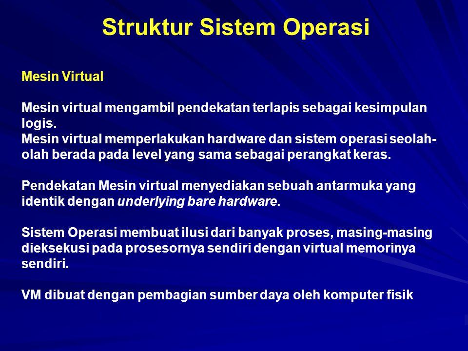 Struktur Sistem Operasi Mesin Virtual Mesin virtual mengambil pendekatan terlapis sebagai kesimpulan logis. Mesin virtual memperlakukan hardware dan s