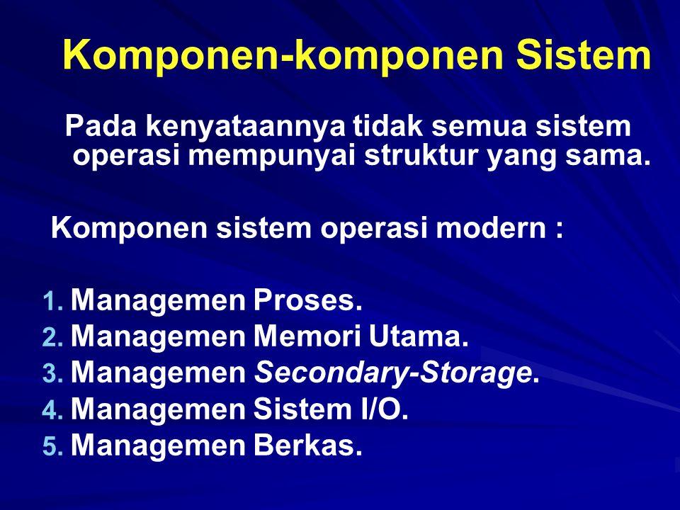Komponen-komponen Sistem Pada kenyataannya tidak semua sistem operasi mempunyai struktur yang sama. Komponen sistem operasi modern : 1. 1. Managemen P