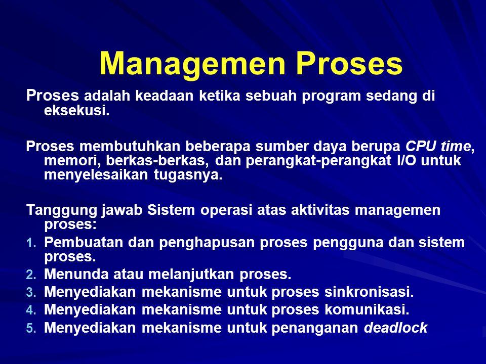 Managemen Proses Proses adalah keadaan ketika sebuah program sedang di eksekusi. Proses membutuhkan beberapa sumber daya berupa CPU time, memori, berk