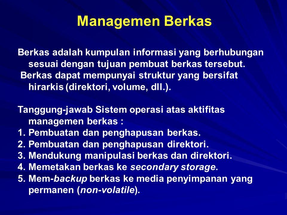 Managemen Berkas Berkas adalah kumpulan informasi yang berhubungan sesuai dengan tujuan pembuat berkas tersebut. Berkas dapat mempunyai struktur yang