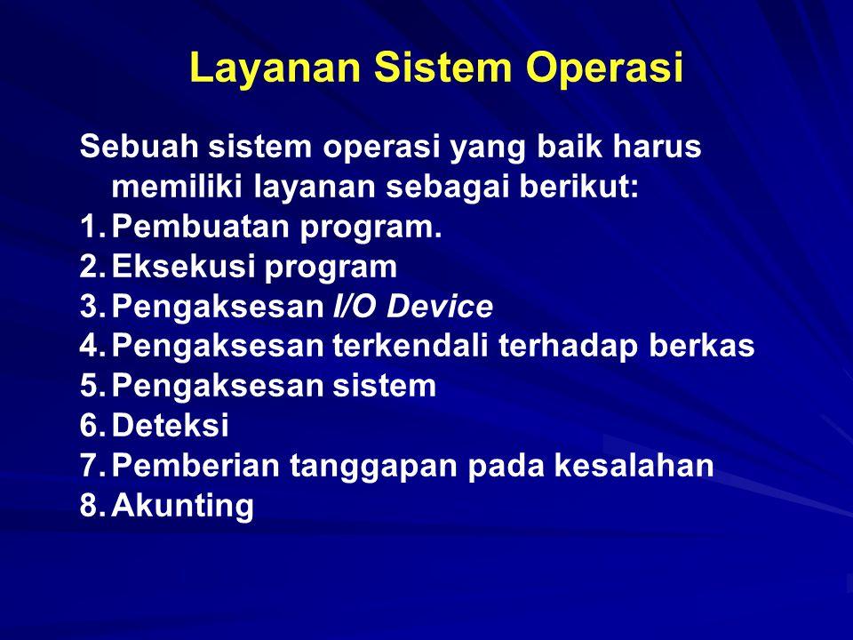 Layanan Sistem Operasi Sebuah sistem operasi yang baik harus memiliki layanan sebagai berikut: 1.Pembuatan program. 2.Eksekusi program 3.Pengaksesan I