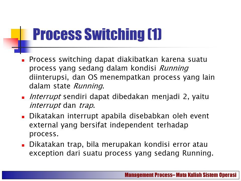 Process Switching (1) Process switching dapat diakibatkan karena suatu process yang sedang dalam kondisi Running diinterupsi, dan OS menempatkan proce