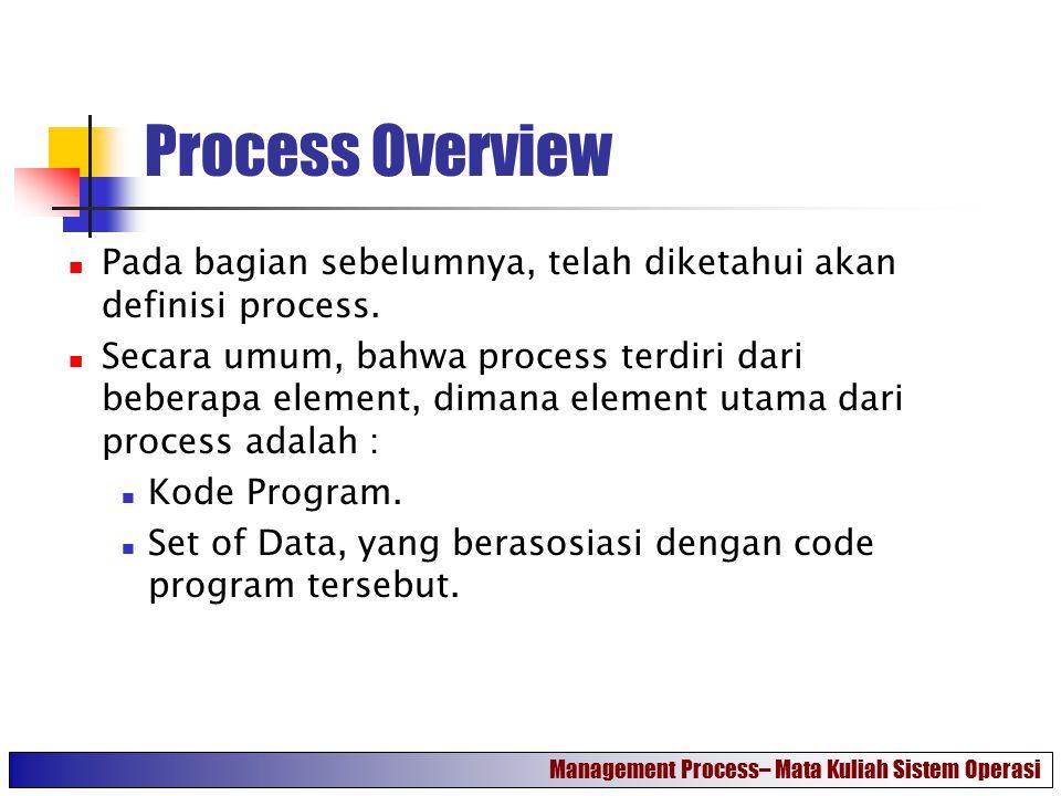 Process Control Block (1) Dalam eksekusinya, process dapat dikenali atau diidentifikasi dengan beberapa element, yaitu : Identifier.