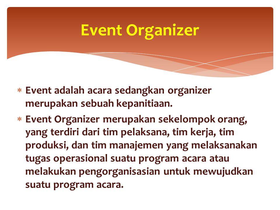  Event adalah acara sedangkan organizer merupakan sebuah kepanitiaan.  Event Organizer merupakan sekelompok orang, yang terdiri dari tim pelaksana,