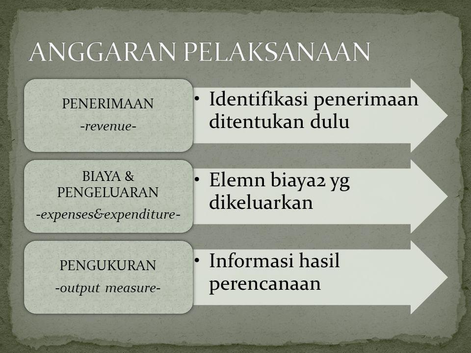Identifikasi penerimaan ditentukan dulu PENERIMAAN -revenue- Elemn biaya2 yg dikeluarkan BIAYA & PENGELUARAN -expenses&expenditure- Informasi hasil pe