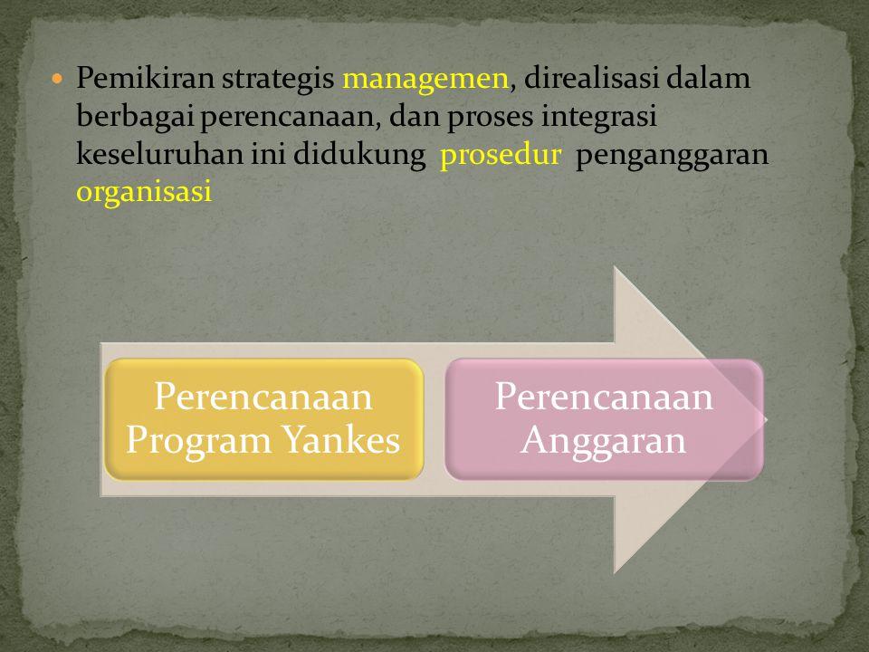 Pemikiran strategis managemen, direalisasi dalam berbagai perencanaan, dan proses integrasi keseluruhan ini didukung prosedur penganggaran organisasi