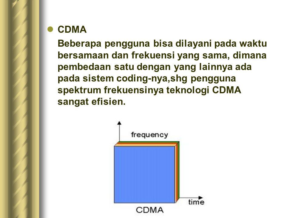 CDMA Beberapa pengguna bisa dilayani pada waktu bersamaan dan frekuensi yang sama, dimana pembedaan satu dengan yang lainnya ada pada sistem coding-ny