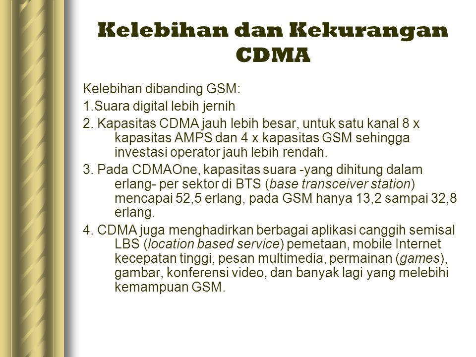 Kelebihan dan Kekurangan CDMA Kelebihan dibanding GSM: 1.Suara digital lebih jernih 2. Kapasitas CDMA jauh lebih besar, untuk satu kanal 8 x kapasitas