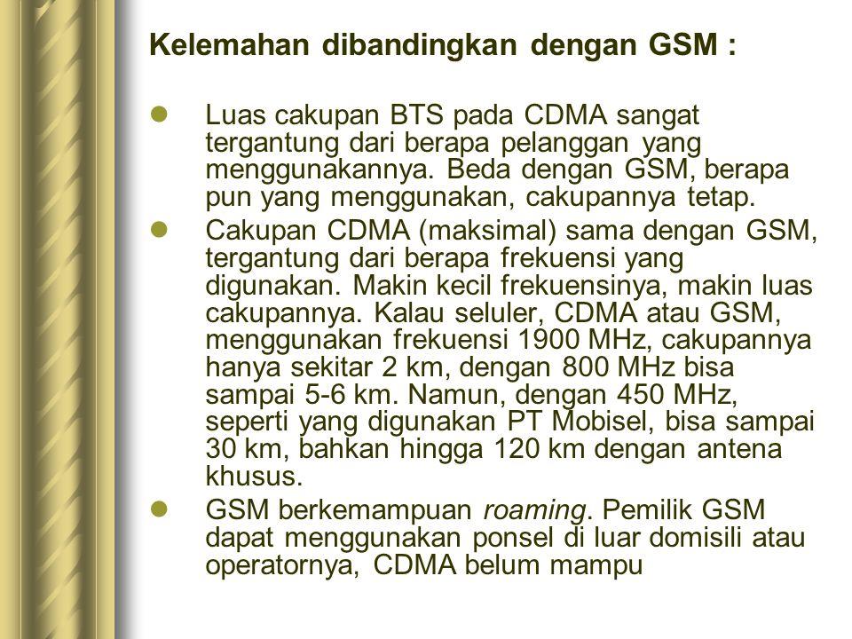 Kelemahan dibandingkan dengan GSM : Luas cakupan BTS pada CDMA sangat tergantung dari berapa pelanggan yang menggunakannya. Beda dengan GSM, berapa pu