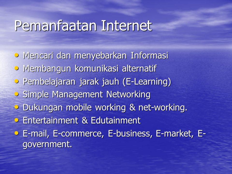 Pemanfaatan Internet Mencari dan menyebarkan Informasi Mencari dan menyebarkan Informasi Membangun komunikasi alternatif Membangun komunikasi alternat