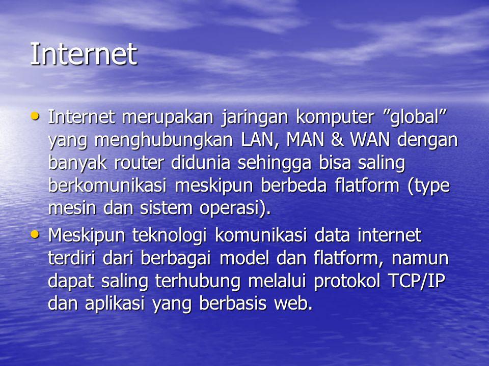 """Internet Internet merupakan jaringan komputer """"global"""" yang menghubungkan LAN, MAN & WAN dengan banyak router didunia sehingga bisa saling berkomunika"""